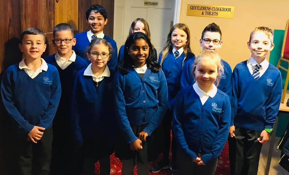 Thrumpton pupils sing at St George's Day celebrations
